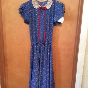 Royal Blue with Red Print Sheer Dress